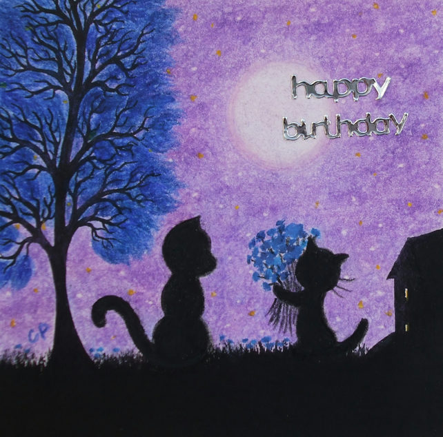 Birthday Card Cat: Birthday Art Card, Black Cats Card, Birthday Cat Flowers Card