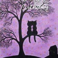 Cat Birthday Card: Cat Tree Birthday Card, Black Cats, Purple Birthday Card, Cat