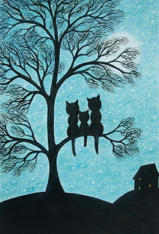 Cat Card, Children Cats Tree Card, Mother Cat Card, Father Cat Card, Black Cats
