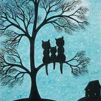 Cat Fathers Day Card, Cats Tree Card, Moon Kitten Card, Three Black Cats Art