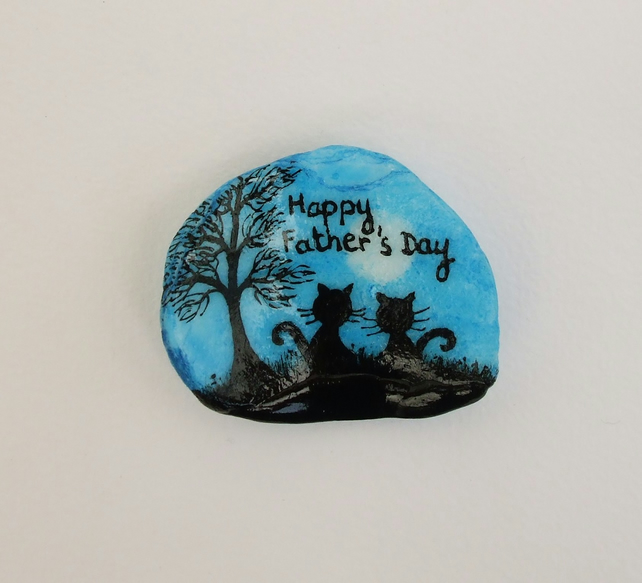 Fathers Day Card, Unique Cat Card, Hand painted Fathers Day Cat Card, Shell Card