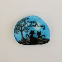Fathers Day Card, Cat Art Card, Hand painted Fathers Day Card, Unique Shell Card