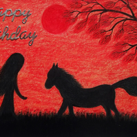Birthday Card Horse, Daughter Birthday Card, Black Horse Girl Tree, Red Art Card