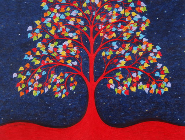 Tree Card: Tree of Life, Rainbow Tree Card, Spiritual Card, Tree Art Card Red