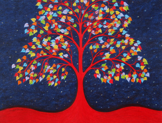Tree Print, Tree of Life Art Print, Birthday Gift, Rainbow Tree, Spiritual Art