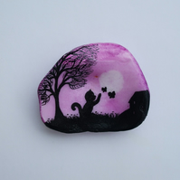 Painted Shell: Cat Painting on Shell: Cat Butterflies, Cat Art, Black Cat Tree