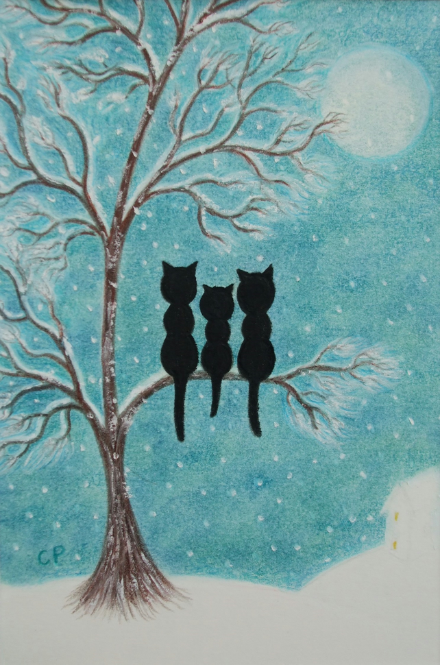 Cat Card: Fathers Day Card, Snow Cat Card, Mother Card, Cat Tree Card, Kids Card