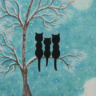 Cat Christmas Card, Black Cats Tree Snow Card, Christmas Kids Card, Cat Art Card
