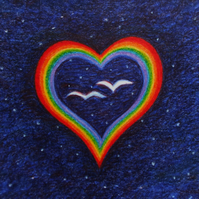 Heart Card, LGBT Rainbow Birds Card, Gay Lesbian, Romantic Spiritual Art Card