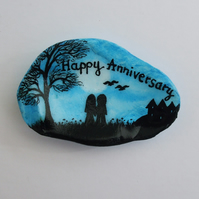 Anniversary Gift: Painted Shell, Anniversary Painting, Couple, Anniversary Art