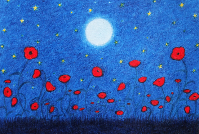 Poppy Card: Poppy Art Card, Poppy Field, Flower Card, Poppies Moon Stars, Poppy