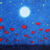 Poppy Card, Red Poppies Moon Stars Card, Sympathy Card, Spiritual Poppy Art Card