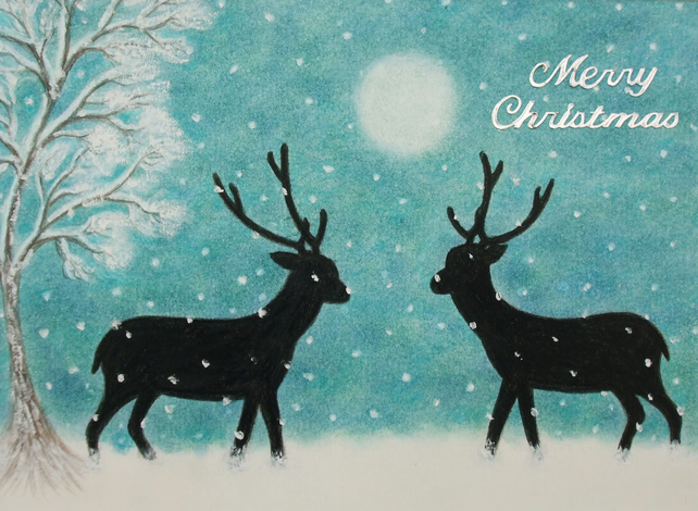 Christmas Card: Reindeer Art Card, Christmas Snow Card, Deer Snow, Christmas Art