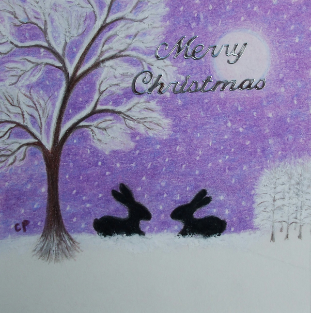 Rabbit Christmas Card, Purple Bunny Snow Card, Daughter Christmas Card, Rabbits