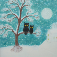 Owl Christmas Card, Snow Tree Card, Mother Christmas Art Card, Owls Card Father