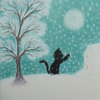 Cat Card, Black Cat Tree Snow Card, Children Christmas Card, Cat Art