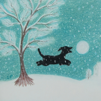 Dog Christmas Card, Snowball Black Dog Card, Christmas Art, Snow Tree Puppy Card