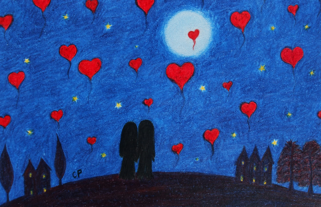 Heart Card, Couple Love Card, Wedding Moon Stars Card, Romantic Art Card Hearts