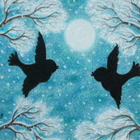 Love Birds Card, Romantic Christmas card, Snow birds Moon