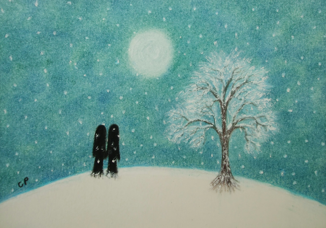 Romantic Card, Snow Card, Love Card, Couple Snow Card, Soul Mates Moon Art Card