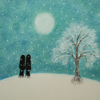 Romantic Christmas Card, Couple Snow Card, Love Christmas Card, Soul Mates Card