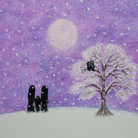 Children Card Snow, Purple Card, Snow Tree Bird Card, Snow Card, Moon Card, Kids