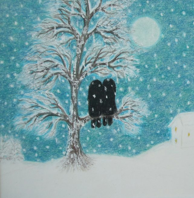 Snow Card: Romantic Tree Card, Snow Art Card, Couple Tree Card, Love Card Snow