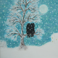 Soul Mate Card, Love Tree Snow Card, Twin Sister Card, Christmas, Winter Wedding
