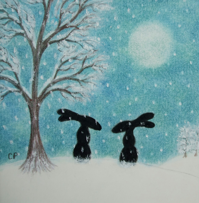 Hare Christmas Card, Snow Rabbits Art Card, Bunny Moon Friends Card, Xmas Art