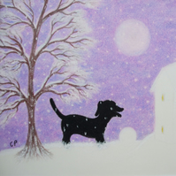 Christmas Card Dog: Snow Dog Card, Christmas Art, Dog Card, Snow, Christmas Dog