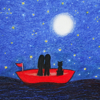 Boat Card, Romantic Couple Cat Card, Moon Stars Love Card, Wedding, Anniversary