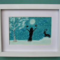 Snow Print, Framed Girl Birds Deer, Winter Art Picture, Spiritual Gift, Daughter