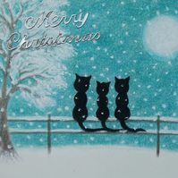 Cat Christmas Card, Black Cats Tree Snow Card, Children Christmas Card, Kitten