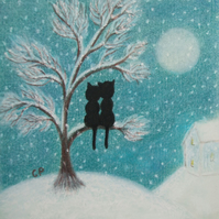 Romantic Cat Card, Snow Art, Black Cat Christmas Card, Cats Tree