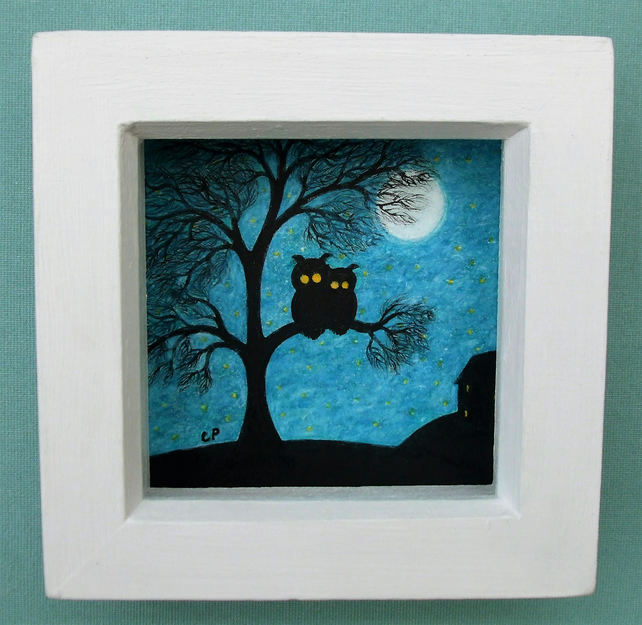 Owl Picture: Owls in Tree Drawing, Owl Art Gift, Framed Owl Picture, Tree Moon