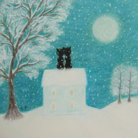 Christmas Card, Romantic Cats Card, House Snow Christmas Card, Black Cat Moon
