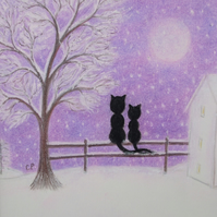 Cat Card, Mother Daughter Card, Snow Black Cats Moon Tree Art Card