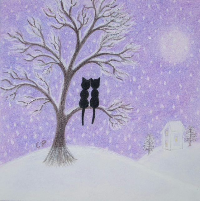 Cat Card: Romantic Card Cat, Snow Card, Wedding Card, Cat Tree Card, Love Cat