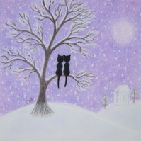 Romantic Cat Card, Snow Cat Tree Card, Love Cat Card, Wedding Anniversary Cats