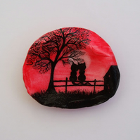 Cat Painting on Shell: Cats, Romantic Art Gift, Painted Shell, Black Cats Tree