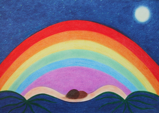 Rainbow Card: Rainbow Art Card, Rainbow Moon Card, Rainbow Stars, Rainbow Art