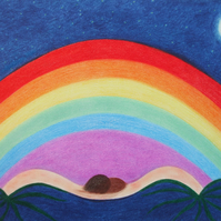 Rainbow Card, Blank Rainbow Love Card, Spiritual Rainbow Art Card, Hope Card