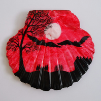 Bats Silhouette. Halloween Painting on Shell, Bat Tree Moon Art Painting, Red