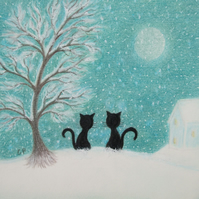Christmas Card, Black Cats Tree Snow Moon Card, Christmas Cats, Snow Art Card
