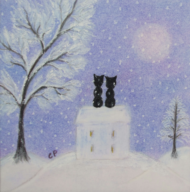 Black Cats Christmas Card, Love Christmas Card, Purple Cats House Snow Art Card