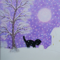 Christmas Card, Kitten Snow Card, Purple Christmas Card, Cat Tree, Daughter Card