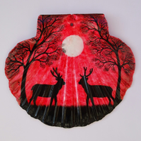 Deer Painting on Shell, Christmas Ornament, Hand Painted Stags Trees Moon, Red
