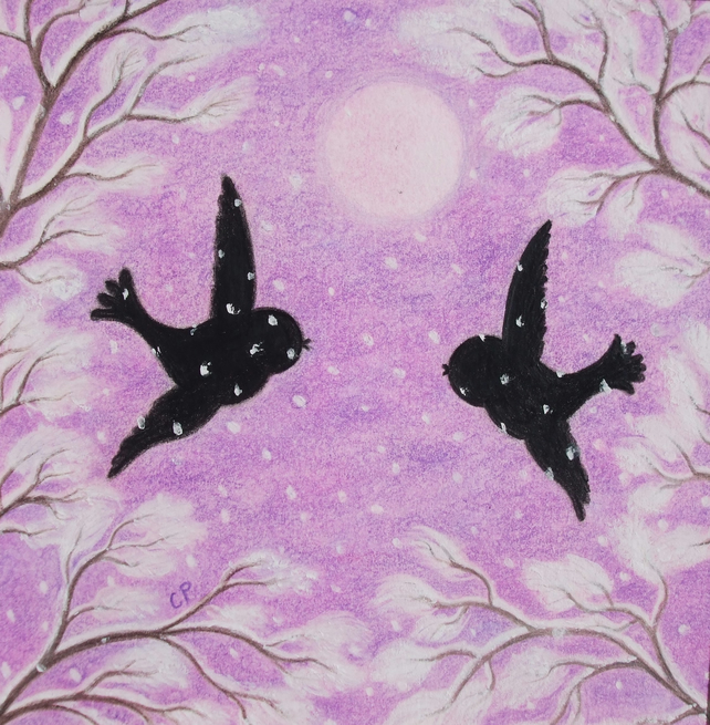 Bird Card, Snow Bird Card, Wedding Card, Bird Moon Snow Card, Romantic Art Card