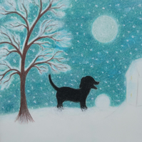 Dog Christmas Card, Dog Snow Card, Children Christmas Card, Dog Silhouette Card