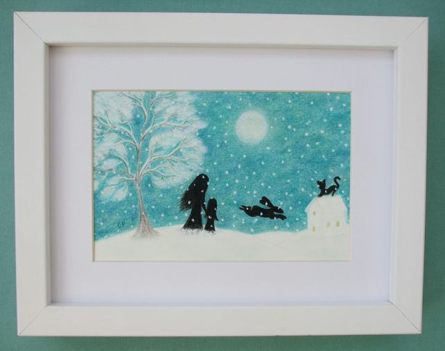 Snow Picture: Mother Daughter Gift, Framed Snow Art Gift, Child Snow Bunny Moon